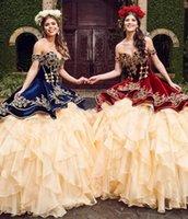 2021 robe de boules de mode Quinceanera robes broderie décolleté en décolleté d'organza gowns de bal de bal de balai balayer rouges à volants