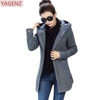 Ягенц осень зимняя толстовка женщины длинное пальто плюс размер пальто высококачественный с длинным рукавом топ моды женские женские толстовки TOP731 Y200917