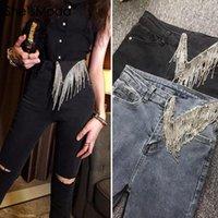 Kadın Pantolon Capris She'Smoda Punk Metal Zincir Püsküller Elmaslar Denim Jean 2021 Spandex Kumaş kadın Uzun Slim Fit Yüksek Bel