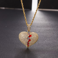 Iced out Red oil Heart Necklace Pendant With 4mm Tennis Chai...
