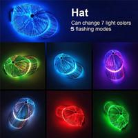 NUEVO LED Luminoso sombrero moda moda colorido bling bling brillo fibra óptica cordón tapa gorra de béisbol gorra de rendimiento para fiesta año nuevo
