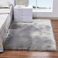 İmitasyon Yün Halı Peluş Oturma Odası Yatak Odası Kürk Halı Yıkanabilir Koltuk Pad Fluffy Kilim 40 * 40 cm 50 * 50 cm Yumuşak Halka EEF3569