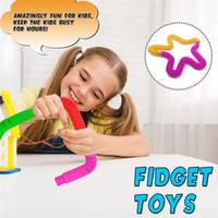 Creativo bricolaje descompresión juguete plástico pop telescópico de felputs seserory juguetes círculo estiramiento cadena tubo juguetes Educación temprana para niños
