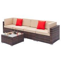 5 pcs Rattin Modular Sofa Set Comprend un coin de table et un canapé à bras Sofa de loisirs en plein air Set dégradé brun