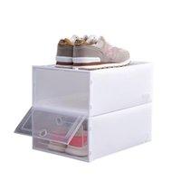 100 adet Plastik Ayakkabı Kutusu Deniz Nakliye Toz Geçirmez Ayakkabı Saklama Kutusu Çevirme Şeffaf Ayakkabı Kutuları İstiflenebilir Ayakkabı Organizatör Kutuları 33 * 23 * 14 cm