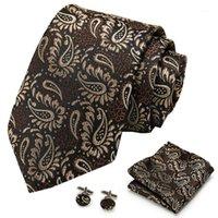 S118 мужские галстуки шелковые галстуки Paisley плед коричневые галстуки для мужчин высокого качества Hanky запонки набор мужской свадебный карманный квадратный галстук набор1