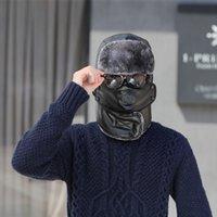 디자이너 폭격기 모자 여성 남성 겨울 가죽 러시아어 모피 Ushanka Trooper 스노 두꺼운 귀 플랩 스카프 목 마스크 따뜻한 2020