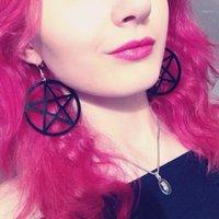 Hippie Acrylic Big Black Pentagram Star Серьги Hangly Висит Серьги Подарки для женщин Партия Мода Ювелирные Изделия Aretes de Mujer1