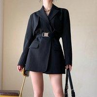 Costumes Femmes Blazers Casual Black Blazer pour femme avec ceinture 2021 Automne designer d'hiver de luxe Vêtements femme Harajuku coréen