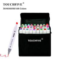 Touchfive 30/40/60/80/168 Marqueurs de couleurs Ensemble Manga Dessin Marqueurs Pen Sketch à base d'alcool Feutre-Tip Twin Brush Pen Art Fournitures 201128