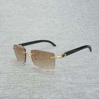 IENBEL 검은 색 화이트 버팔로 경적 빈티지 림없는 사각형 선글라스 남자 나무 태양 안경 여름 클럽에 대 한 복고풍 나무 그늘 안경 B ch01