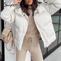 Donne in basso Parkas Simplee Causal caldo bianco autunno autunno inverno donne giacca elegante tasca manica lunga femmina alta strada moda outwear 202