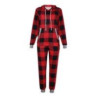 여성 크리스마스 격자 무늬 Tracksuit 크리스마스 두 조각 의류 잠옷 세트 체크 무늬 후드 후드 legging 바지 복장 Trourser 정장 e120301