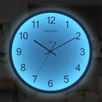 壁時計12インチアート時計発光ぶら下げ静かな濃い輝くモダンな時計装飾リビングルームLEDウォッチ