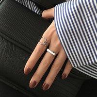 Кластерные кольца купить один получить два стерлингового серебра 925 стерлингового серебра геометрические кросс открытие индекс пальцев кольцо женщины мода холодный ветер ретро