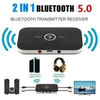 2 em 1 Transmissor Bluetooth e Receptor Wireless A2DP Bluetooth Adaptador de Áudio Portátil Portable Audio Player AUX 3,5 mm preto com caixa de varejo