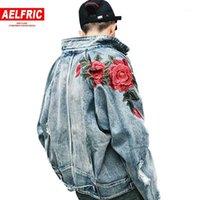 Giacche da uomo Aelelfric 2021 Molla Men Denim Giacca 3D Rose Flower Ricamo Vintage Frayed Foro Cappotti Hip Hop Coat Outwear TR031