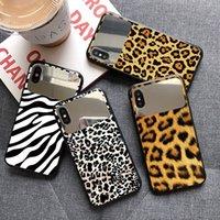 Maquiagem espelho de vidro de vidro caso para iphone 11 12 pro máximo 7 8 mais xs xr tpu telefone celular volta tampa de tampa de leopardo para iphone 11 pro max estojo
