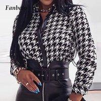 Kadın Bluz Gömlek Kadınlar Seksi Slash Boyun Uzun Kollu Slim Fit Bodycon Sonbahar Zarif PU Deri Düğme Fırfır Bluz Kadın Casua Tops