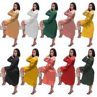 Женщины Nightdress Письмо Печать MIDI Юбки Длинные Рукав Пижама Мода Видженый Сексуальное Ночное платье Bodycon Платье Свободный Корабль Плюс Размер 4282