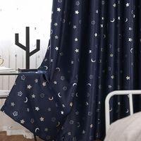 Moderna e semplice e semplice ombreggiatura stella d'argento e mese modello di stoffa Tenda Blackout Tenda per bambini camera da letto