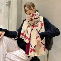 Кашемир мягкий согревающий шарф мода леди большая шаль и обертки женские длинные шарфы печатают двусторонняя кисточка плед фуларс J1215