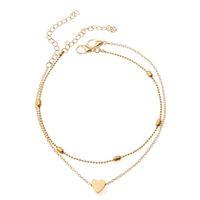 S1418 bijoux de mode chaude double couche coeur chain en alliage perles d'alliage bracelet bracelet Beach anklets chains de pied eul1b