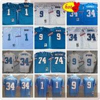 NCAA Football Retro Vintage 9 Steve McNair Jersey Nähte 34 Earl Campbell 1 Warren Moon 74 Bruce Matthews Jerseys Mens Blue Billig