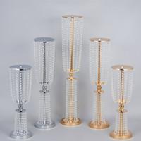 60 cm de alto nível de cristal de cristal cortina citou casamento ceterpieces tabela decoração candelabro área de bem-vindo decoração adereços