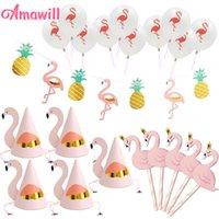 Amawill Flamingo Paper Buntings Party Chapéus Rosa Bolo Toppers Flamingo Látex Balões para decorações de aniversário Decoração de abacaxi 8D LJ200930