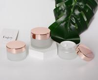 Prezzo di fabbrica all'ingrosso 15g 30g 50g 100g 100g rosa lucido oro riutilizzabile cosmetico bellezza trucco glassato vetro cura personale cream contenitore barattolo