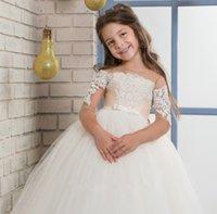 유아 꽃 소녀 드레스 결혼식 긴 바닥 길이 승무원 목에 가격 레이스 아이 첫 번째 친교 드레스