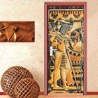 Home Decor Door Sticker European Style Retro 3D Relief Egyptian Pharaoh Statue Portrait Wallpaper PVC Self-Adhesive Door Decals