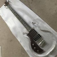Ücretsiz Kargo Sol El Sol El 4 Dizeleri Akrilik Vücut Elektrik Bas Gitar Kristal Gitar Ücretsiz Kargo Gülağacı Pickguard