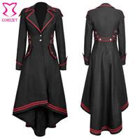 Trench femminile Steampunk Gothic Black Cotton Collo V-Neck maniche lunghe Giacca invernale Giacca da donna Vintage Abbigliamento Punk Rock Coat Femme Plus Size