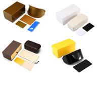 Caja de los paquetes de gafas de sol rojas de color amarillo amarillo de la mejor calidad con vidrios ropa alta 9style gafas de sol negro caja de ojos accesorios caja