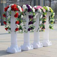Lüks Parti Dekorasyon Gül Lily Çiçek Ile Beyaz Roma Sütun Çiçek Setleri Kurşun Alınan Koridor Koşucular Düğün Kutlama Dekor için Koşucu Koşucu