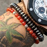 Bracelet en agate rouge en nylon de nylon de nylon de nylon en nylon de 2 mm de la mode perlée