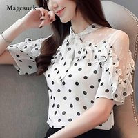 Blusas femininas Camisas 2021 Moda Bow Dot Dot Lace Womens Roupas Verão Manga Curta Chiffon Mulheres Blusa Camisa Tops e 3569