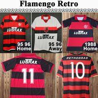08 09 Flamengo Josiel Williams KBerson Adriano Erkek Retro Futbol Formaları 1982 1988 1990 Ev Futbol Gömlek Kısa Kollu Yetişkin Üniformaları