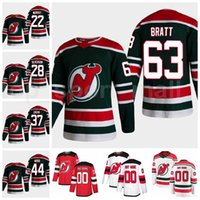 New Jersey Devils Buz Hokeyi 63 Jesper Bratt Ters Retro Jersey 19 Dawson Mercer 37 Pavel Zacha 28 Damon Severson 44 mil ahşap