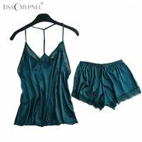 Lisacmvvnel backless encaje sexy mujeres pijama set Spaghetti Strap Nightdress + Shorts Set Elegant Lingerie1
