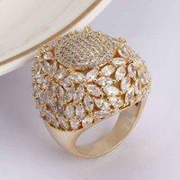Bride Talk Luxury Super Big Rings Paved Zirconia Brass Smycken Tillbehör Förlovning Bröllop Kristall Glänsande Ringar För Kvinnor Gåva Y1128