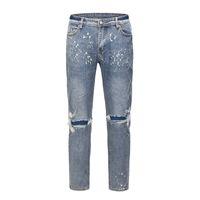 Jeans High Street Hole Mens промытый Уничтожение негабаритных повседневных карандаш брюки ретро прямые свободные мешковатые джинсовые брюки