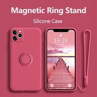 الجملة ل iPhone 12 برو حالة سيليكون مع حامل الدائري الغلاف المغناطيسي لفون 11 برو XR ماكس x xs ماكس 8 زائد SE 2020 حالة الغطاء