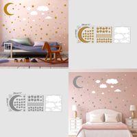 3 قطع ملصقات الحائط لكل مجموعة نجوم القمر سحابة diy مطلي الذهب والفضة الاطفال الفن جدار الديكور المطبخ 6ym k2