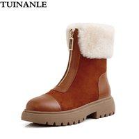 Сапоги туинанье женщин натуральная кожа теплый зимний на молнии с ботинками женские лодыжки ботинок ботас мохеров женские ботинки
