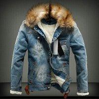 Kış Erkek Denim Ceketler Polar Kalın Sıcak Kot Ceket erkek Kürk Kapüşonlu Giyim Yün Astar Kalınlaşmak Kovboy Rüzgarlık Mont 201114