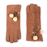 خمسة أصابع قفازات السيدات المرأة 100٪ الفراء حقيقي shearling جلد حقيقي جلد الغنم سمكا الشتاء الدافئة قصيرة قفازات