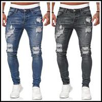 2020 New 5 Colors Men' s Ripped Jeans Fashion Slim Denim...